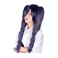 Black Butler Kuroshitsuji Ciel Phantomhive Blue Grey Mix Synthetic Hair Cosplay Wigs With Chip Removable Ponytails