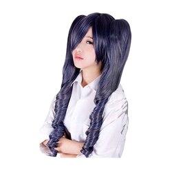 Preto mordomo kuroshitsuji ciel phantomhive azul cinza mix cabelo sintético cosplay perucas com chip removível rabo de cavalo