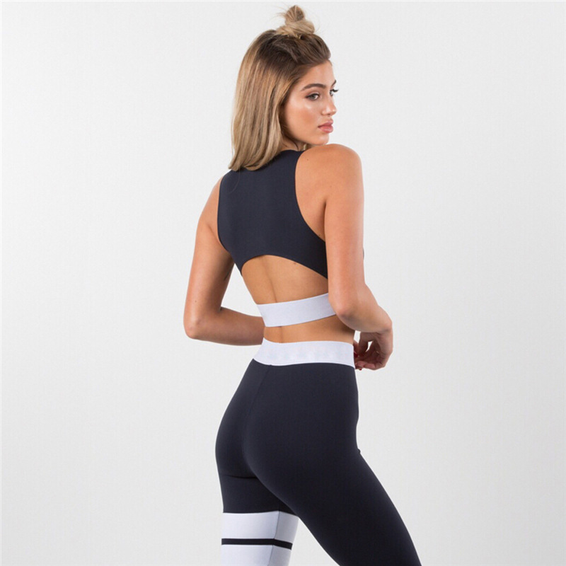 Women Tracksuit Solid Yoga Set Patchwork Running Fitness Jogging T-shirt Leggings Sports Suit Gym Sportswear Workout Clothes S-L 11