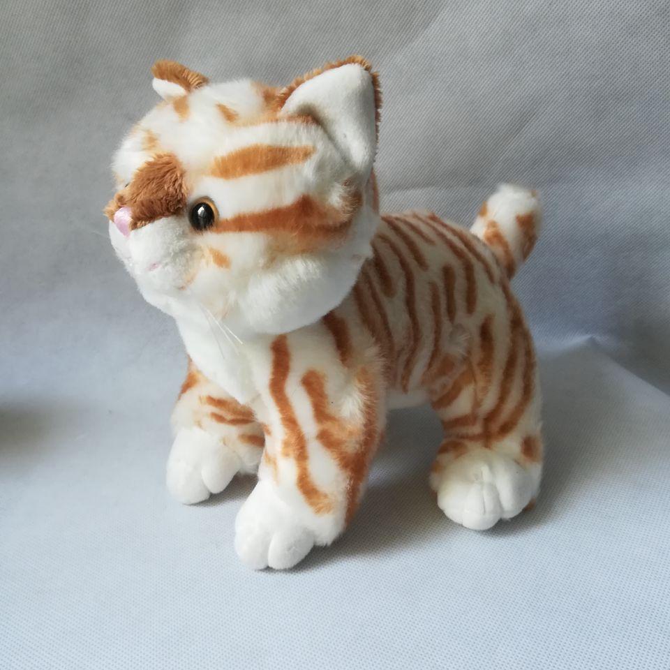 Environ 25 cm dessin animé chat peluche jouet jaune rayures design chat doux poupée enfant jouet cadeau d'anniversaire h2499