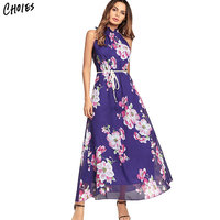 Chiffon Boho Style Off Shoulder Long Floral Print Summer Dress Women 2018 Elegant Vintage Maxi Beach