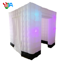 Nice Cabin Tent Black Bottom 2.5M Two Doors Inflatable Photo Booth backdrop With 8PCS LED Bulbs lights For Wedding, Party, Event 7 3ft inflatable photo booth party backdrops with led lights no equipment portable inflatable cabin tent wedding backdrop sales