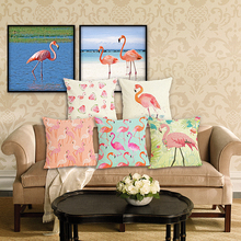 RECOLOUR New Arrive pink Flamingo Cushion Covers home sofa  Decorative Throw Pillows Car Chair Pillow covers cojines