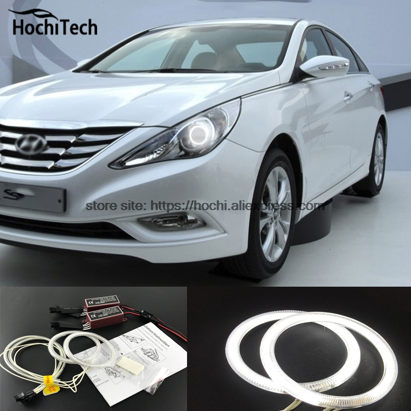 HochiTech ccfl angel eyes kit white 6000k ccfl halo rings headlight for Hyundai Sonata i45 2009 2010 2011 2012 2013 2014 for uaz patriot ccfl angel eyes rings kit non projector halo rings car eyes free shipping