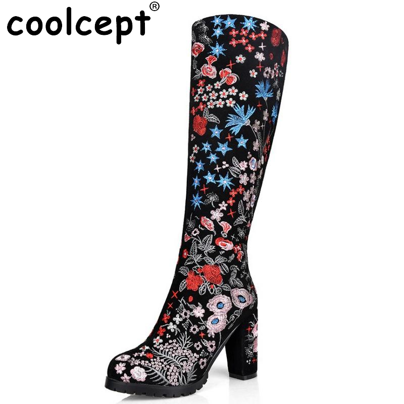 Women Boots Real Leather Knee Boots Ladies High Heel Embroidery Botas Mujer Winter Fashion Zipper Heeled Women Shoes Size 33-43 classic winter boots leather shoes leather high heeled boots boots side zipper rose
