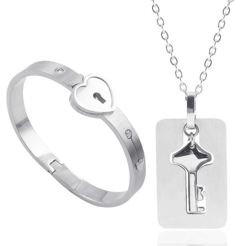 A Couple Lovers Jewelry Love Heart Lock Bracelet Stainless Steel Bracelets Bangles Key Pendant Necklace Jewelry Gift