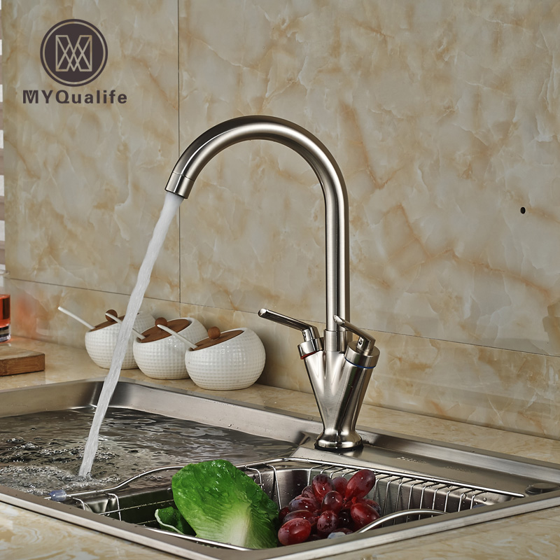 Brushed Nickel Dual Handle Rotation Kitchen Mixer Taps Deck Mount One Hole Hot Cold Water Faucet Deck Mount deck mount kitchen sink mixer faucet one handle washing kitchen taps with hot cold water brushed nickel pull out shower sprayer
