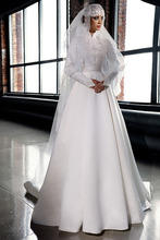 OMYW0197 full long sleeve high neck top lace applique with hijab abiti da sposa muslim wedding dress