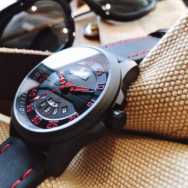 NAVIFORCE Fashion Sports Watches Men Leather Strap Waterproo