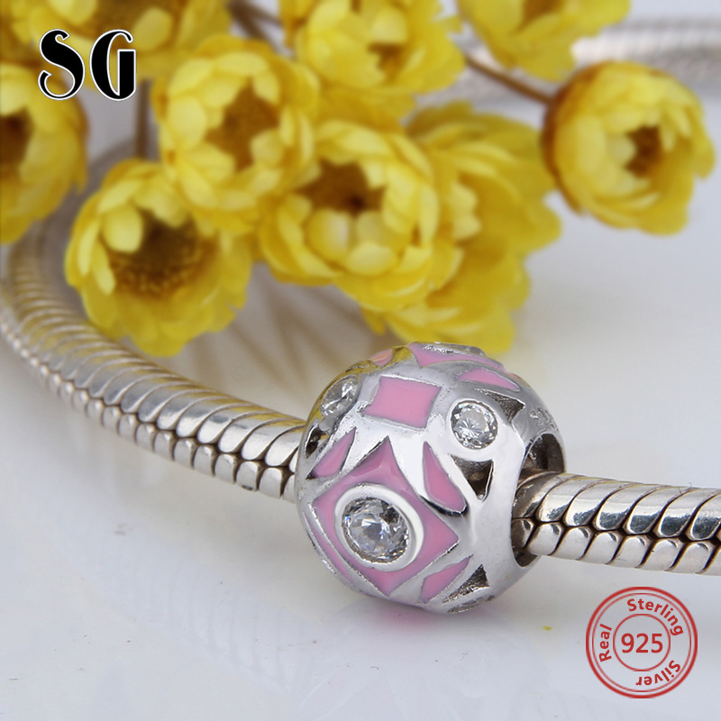 Fit Authentic pandora Charms Bracelet silver 925 original round shape Beads with pink enamel&CZ diy jewelry making women Gift