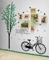 Bicycle Tree Fresh Creative Fashion Wood Photo Frame Combination Corridor Bedroom Restaurant Modern Photo Wall Murals Decoration