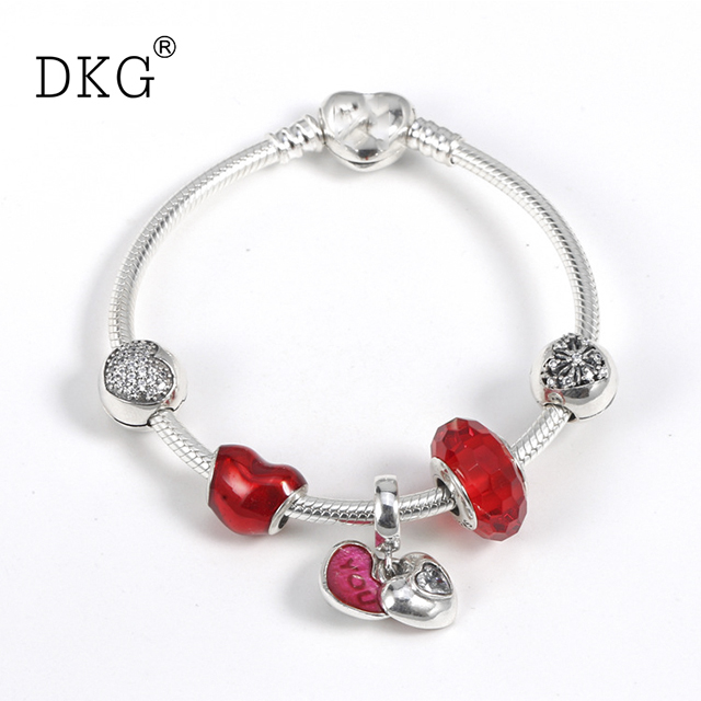 925 Sterling Silver Pan Original Red Enamel Glass Bead Sweet Heart Love You Set Clear CZ Fit Women Bangle Bead Charm DIY Jewelry 925 sterling silver sea turtle charm beads fit bracelets original animal turtle clear cz bead diy jewelry pas147