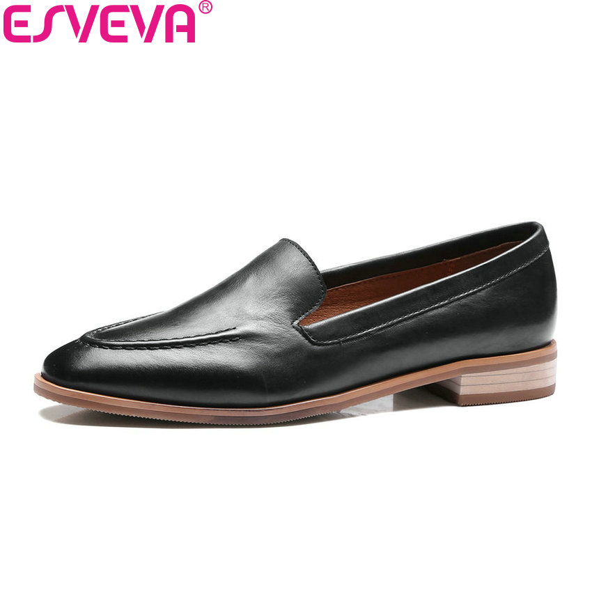 ESVEVA 2018 Low Heel Woman Pumps Slip on New Spring Autumn Women Shoes Real Leather Concise Square Heel Casual Shoes Size 34-39 2017 real top cover heel open casual sapato feminino melissa genuine big size retro solid square heel shoes woman ladies womens