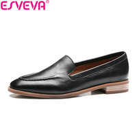 ESVEVA 2018 Low Heel Woman Pumps Slip on New Spring Autumn Women Shoes Real Leather Concise Square Heel Casual Shoes Size 34 39