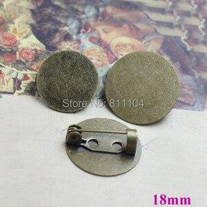 18mm tono Bronce Antiguo en blanco círculo plano bisel bandeja cabujón broche Bases Clip alfileres traseros broches configuración hallazgos