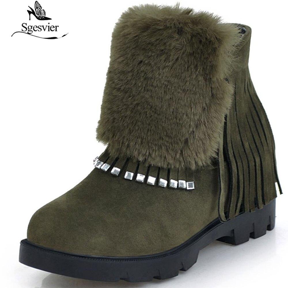 d1b7fe5294a06 Noir Courtes Cheville Plate B836 Troupeau Gland Hauteur Bottes forme vert  Casual Chaussures Fringe Femmes Mode Sgesvier Croissante D hiver SfAqgaxw