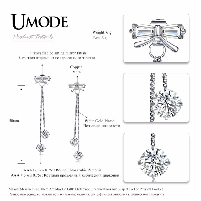 UMODE Fashion Wedding Bridal Long Dangle Earrings for Women Female AAA+ CZ Jewelry Accessories boucle d'oreille femme UE0372