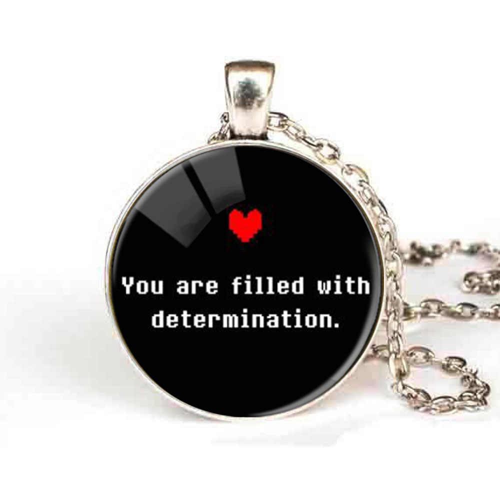 """Undertale игра-геймер """"просто быть, кто вы"""" Colorfu Сердце Фото стеклянный ожерелье из цепей с подвеской для женщин и мужчин модные ювелирные изделия Undertale"""
