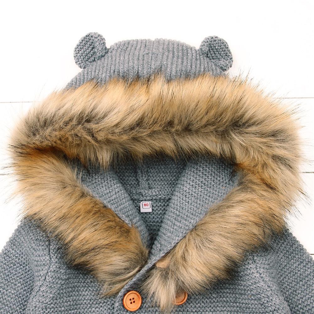 Zimowe ciepłe noworodka sweter futro kaptur odpinany szary - Odzież dla niemowląt - Zdjęcie 3