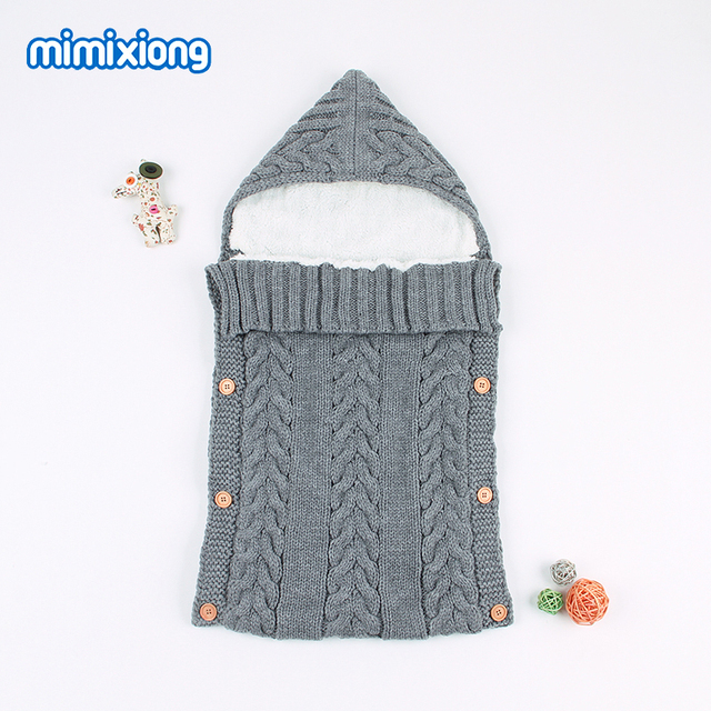 Winter Warm Envelope for Newborn Baby Sleeping Bags Autumn Outdoor Infant Stroller Sleep Sack Cable Knitted Toddler Swaddle Wrap