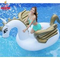 Mejor Venta caliente 2,5 m 98 pulgadas unicornio gigante inflable agua flotadores Pegaso blanco flotador natación colchón cama verano flotadores