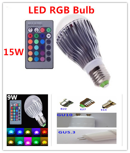 9W15W E27 GU10 B22 E14 GU5.3 RGB LED Light Color Changing Lamp Bulb 85-265V With Remote Control Sales