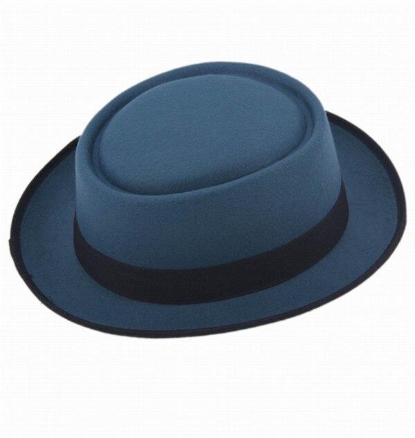 9 цветов, унисекс, женская, мужская шляпа от солнца, фетровая шляпа, свинина, пирог, крушаемая шляпа, ломающаяся Панама, BB шляпа, Уолтер Уайт ХАЙЗЕНБЕРГ, 25 - Цвет: Blue2