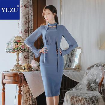 Long Sleeve Dress Blue Office Elegant Lace-up Chiffon Stitching Pencil Solid Knee-length O-neck Hollow Out 2018 Autumn Dresses Платье