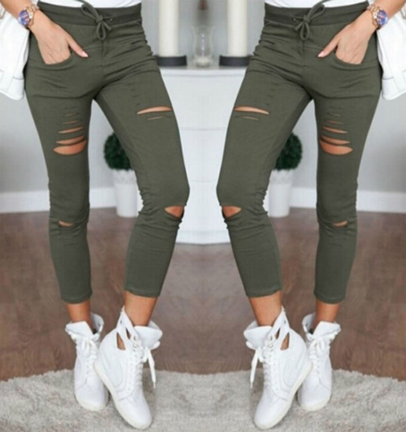 Women Denim Pants Ripped Knee Cut Jeans Faded Slim Fit Lady Skinny Leggings Hole High Waist Pencil Pants 2017 spring hole elastic jeans leggings jean trousers denim jeans womens slim skinny pencil pants ripped jeans for women 1407
