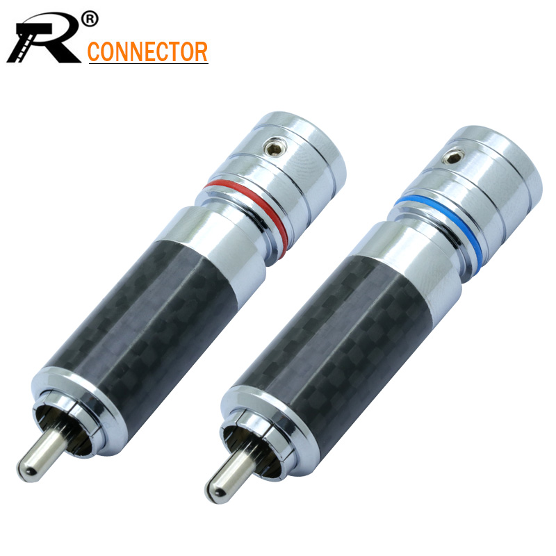 2Pcs/1Pair Carbon Fiber RCA Connector RCA male plug adapter Video/Audio Wire Connector Support 8mm Cable Super High Quality цена