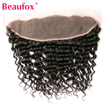Beaufox Brazilian Deep Curly Hair Lace Frontal Closure 13×4 Non Remy Human Hair Free Part Closure Ear To Ear Natural Black