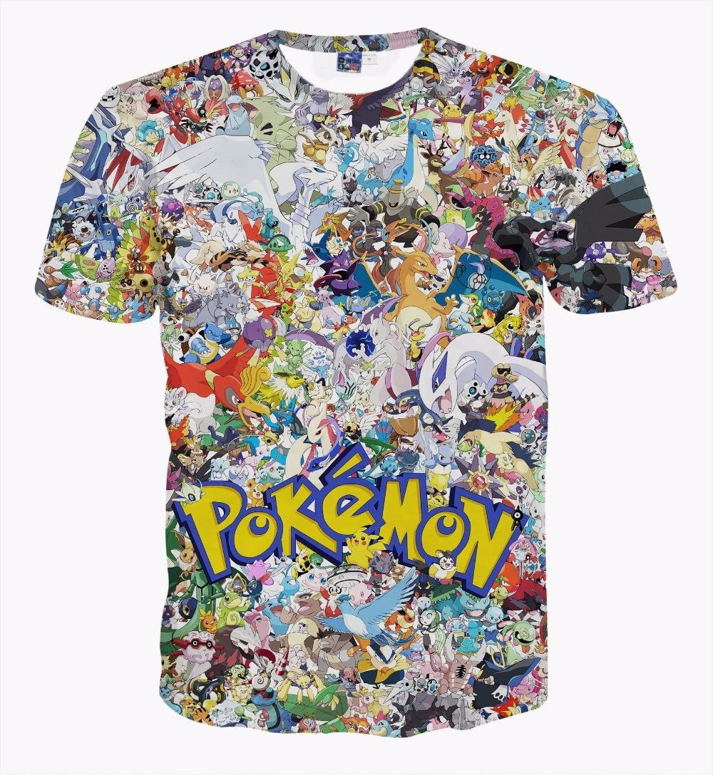 ⑦日本アニメポケモンピカチュウ服半袖ユニセックス3dプリントtシャツt