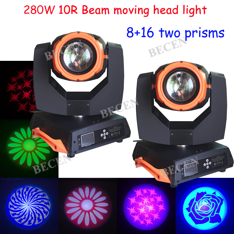 2pcs/lot touch screen 280W sharp beam moving head light wash spot 3 in 1 stage dj lighting 16+8 double prisms