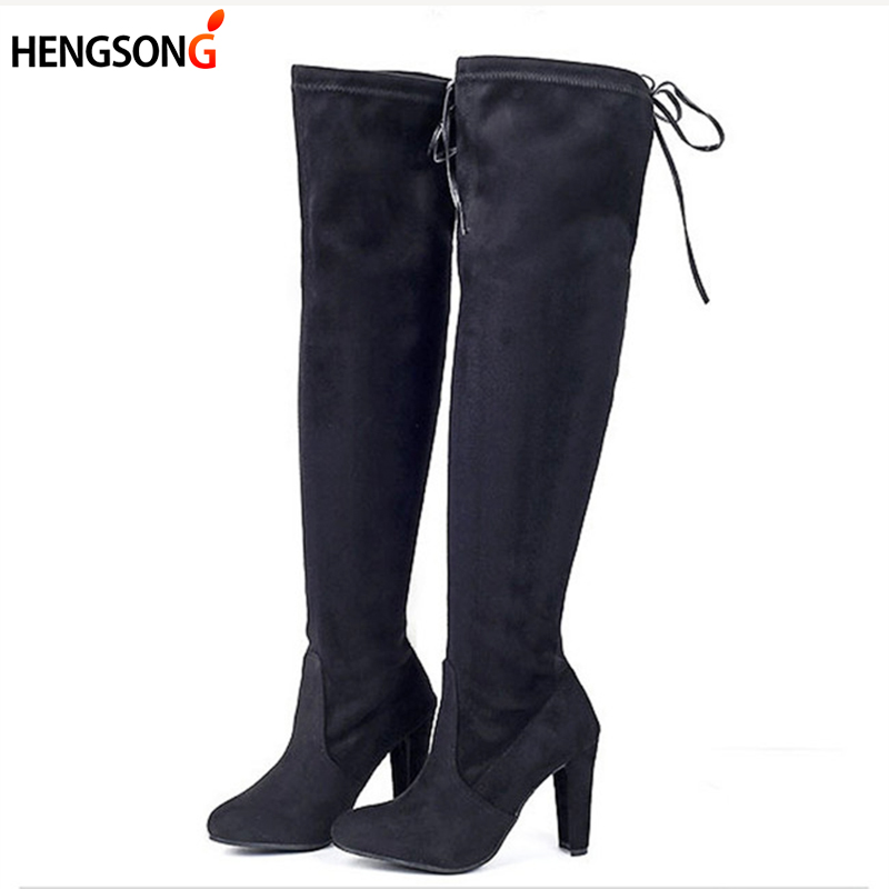 Stretch Faux Suede Female Women Boots Slim Thigh High Boots Sexy Fashion Over Knee Boots High Heels Botas Women Shoes OR934295 women stretch fabric faux suede patchwork sexy thigh high boots comfort block heel female footwear slip on flower printed shoes