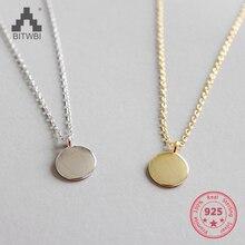 BITWBI,, 925 пробы, серебряное, шикарное ожерелье, индивидуальное, креативное, крестьянское, минималистичное, геометрическое, маленькое, круглое, для монет, для женщин, серебряная цепочка