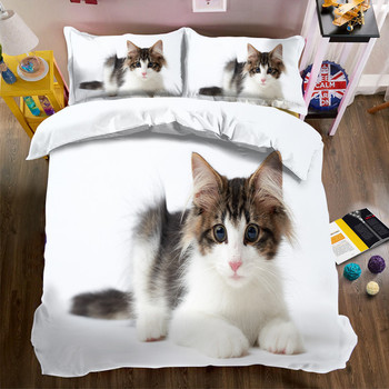 Morden 3D Bedding Set black white cat  Quilt Cover Set King Queen Twin Size Home Textiles Drop Ship