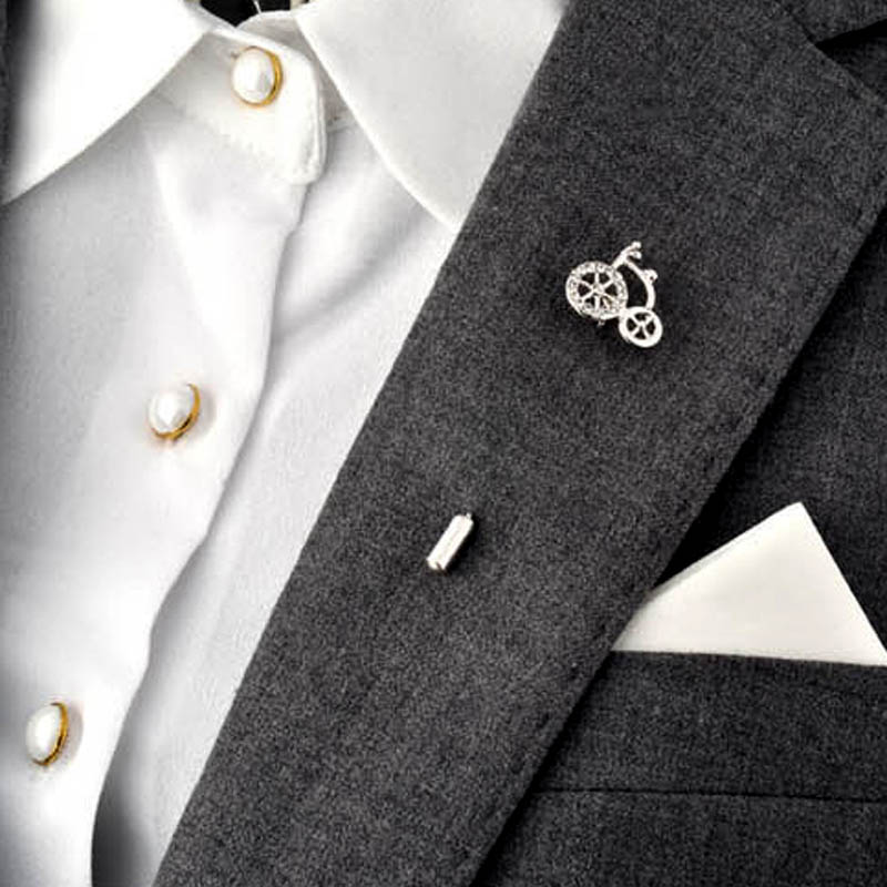 South Korea Style Metal Bicycle Brooch Pin Crystal Rhinestone Garment Fashion Jewelry Man Suit Accessory Gift 2016