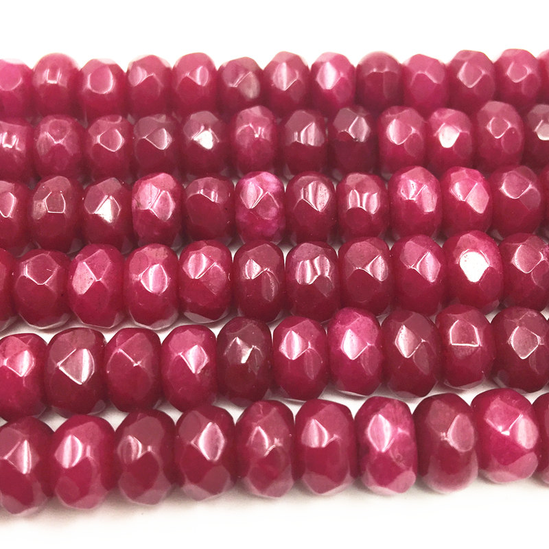 Red Rubies Stone Jaspers Loose Beads for Jewelry Making 5x8mm Faceted Abacus Stones Jades Wholesale Craft Accessories 15 A167