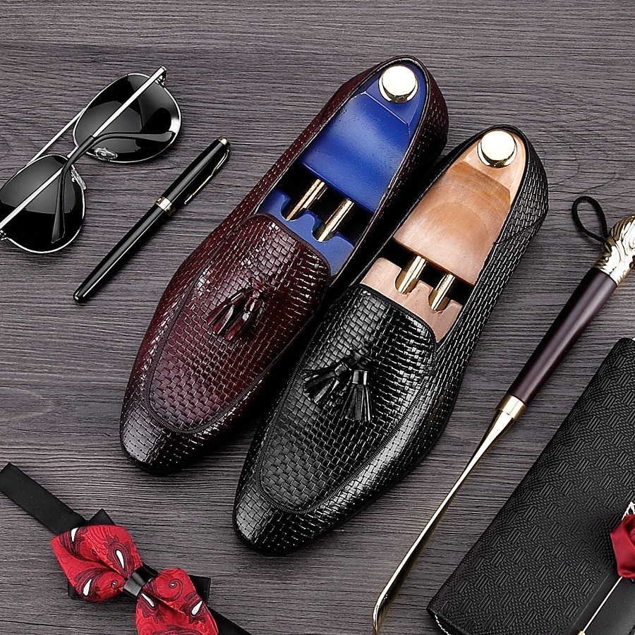 British Style Round Toe Breathable Man Casual Shoes Genuine Leather Handmade Tassels Loafers Men's Height Increasing Flats NE17
