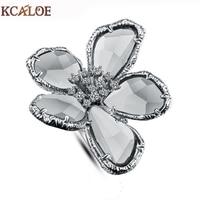 KCALOE 큰 오스트리아 크리스탈 꽃 여성 보석 Bague 팜므 실버 색상 큰 약혼 반지 액세서리