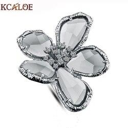 Kcaloe большой Австрийский Хрустальный цветок свадебные Кольца для Для женщин Изделия Bague Femme серебро Цвет большой Обручение кольцо Интимные а...