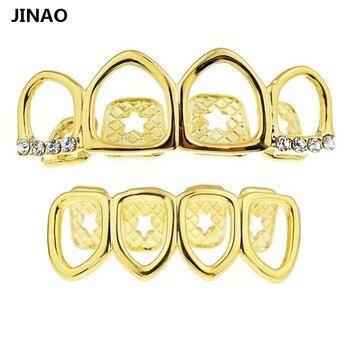 JINAO Grill Set couleur or plaqué quatre Face ouverte à dents creuses haut Grillz avec CZ et fond dents grilles ensembles pour hommes et femmes