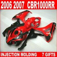 Лидер продаж инъекции Формованных для Honda CBR 1000 RR Обтекатели CBR1000RR Обтекатель Набор 06 07 CBR 1000RR глянцевый красный черный jfb76