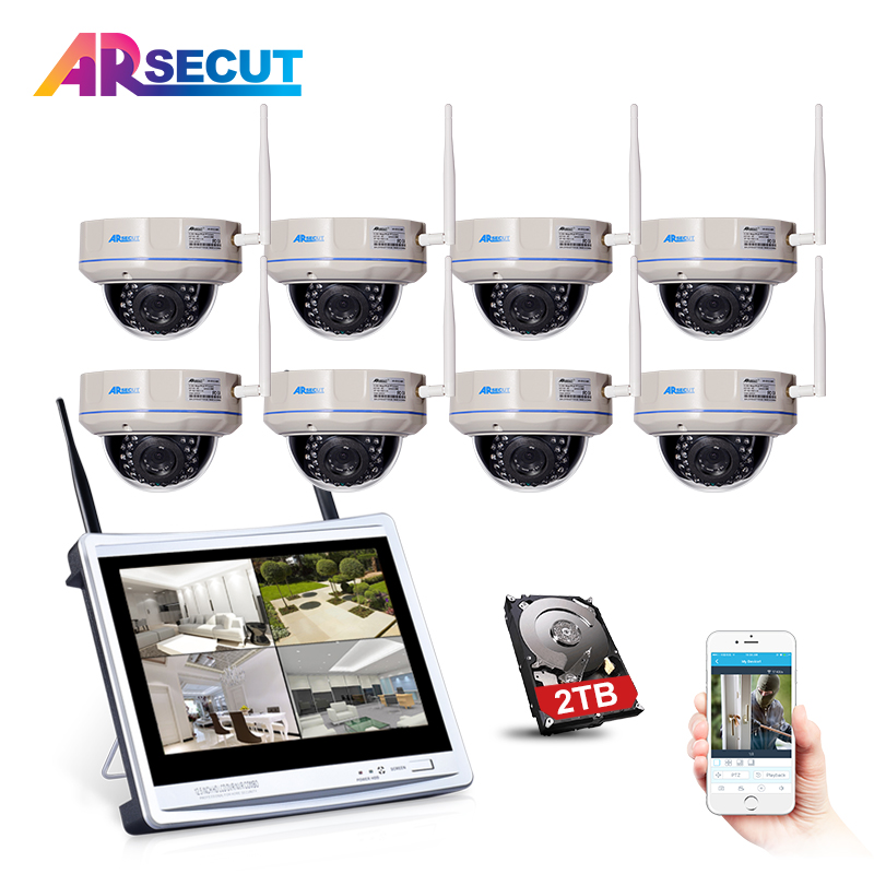 Anran 8CH 12 LCD NVR 720P Wireless CCTV System HD Vandalproof Dome Night Vision Security Camera