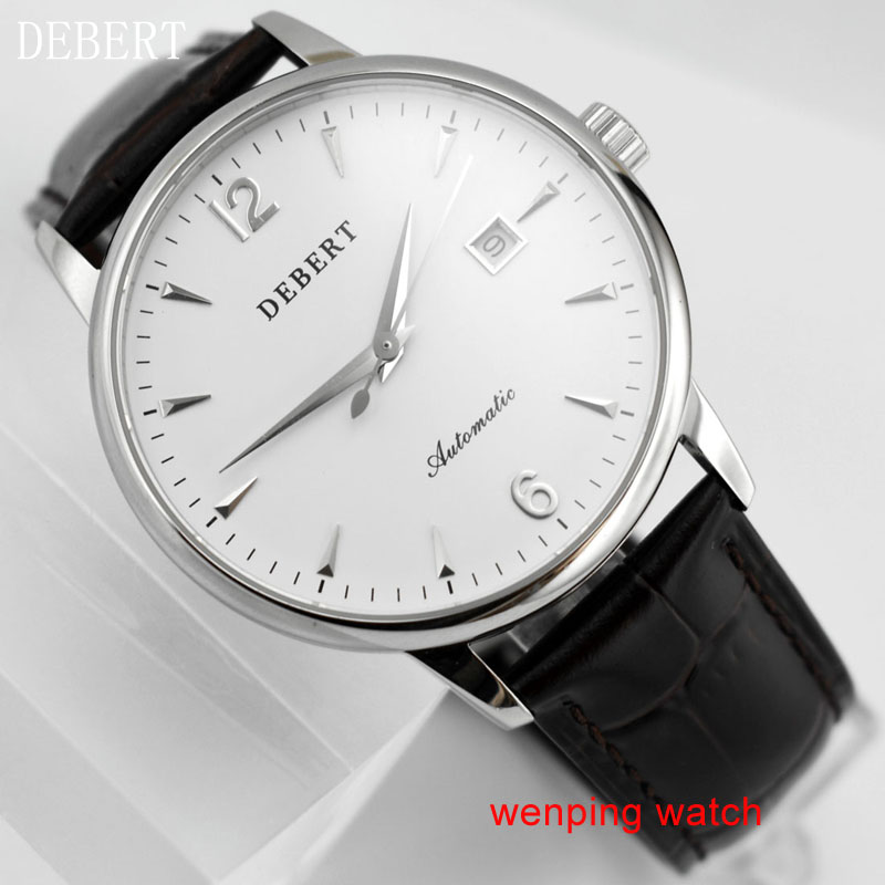 DEBERT 40mm concise Business white Dial brown Leather Strap Automatic Movement Men s Watch E2441