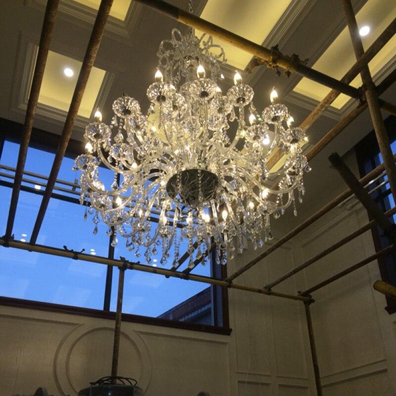 duży żyrandol z kryształowymi zawieszkami duża lampa do hotelu - Oświetlenie wewnętrzne - Zdjęcie 2