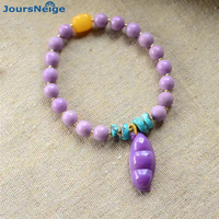 Wholesale Purple Natural mica Bracelets Beads With Four Season Peace Beans Pendant Hand String Beauty for Women Crystal Jewelry