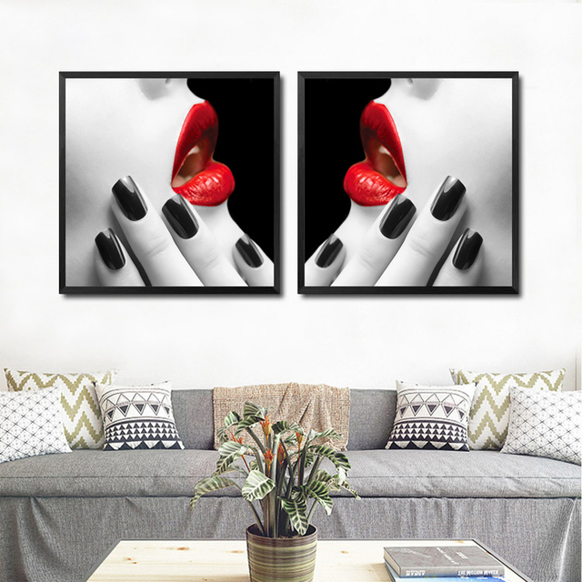 Modern Makeup Wall Decor Painting Beauty Salon Colored Red Lips Canvas Art  Print Poster, Wall