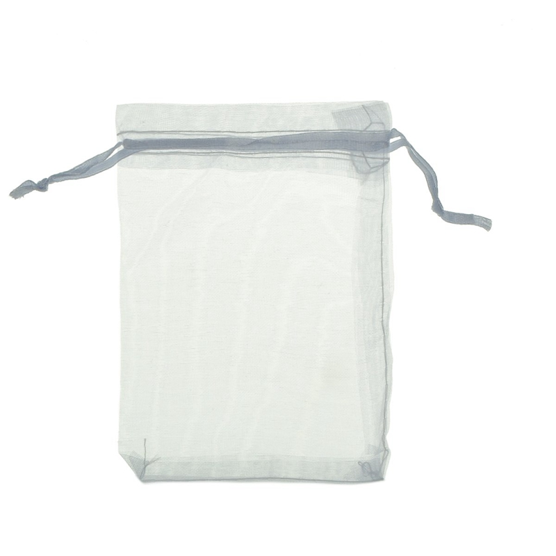 100Pcs Bags / Pouches Made Of Organza Cord Sliding Clamp - For Wedding, Jewelry, Gifts White