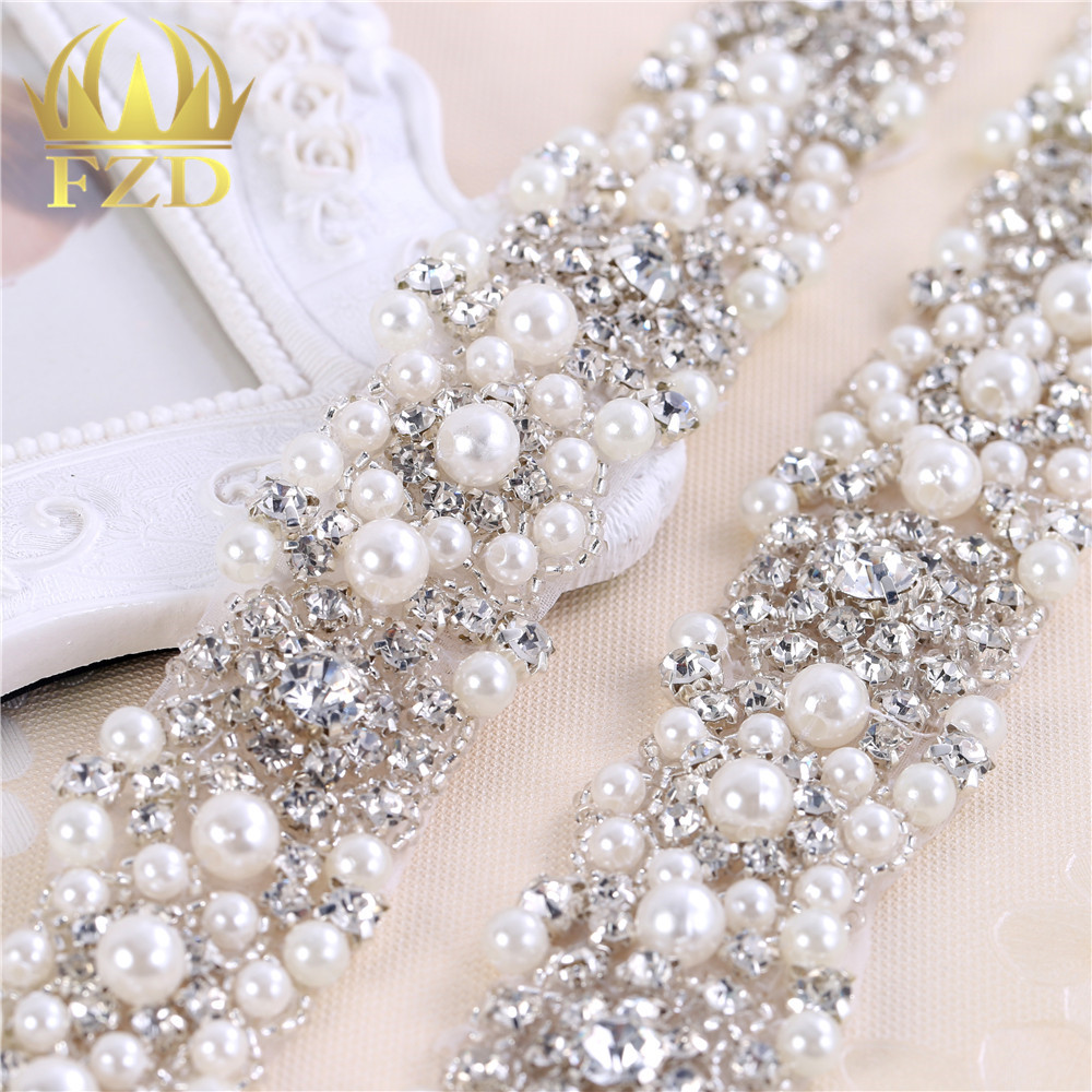 10 Yards Wholesale Crystal Dress Accessories Applique Motif Crystals Sewing Beaded Patches For Bridal Garter Wedding